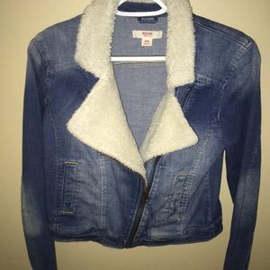 Target Mossimo Jean Denim Fur Jacket Medium New